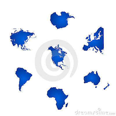 All the six continents of the world