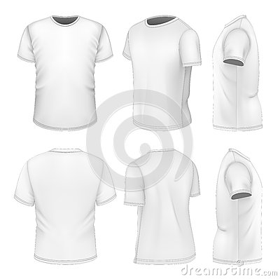 Free All Six Views Men S White Short Sleeve T-shirt Royalty Free Stock Images - 37555699