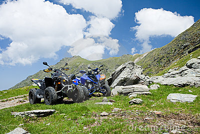 All terrain vehicles offroad on mountain