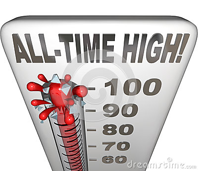 All-Time High Record Breaker Thermometer Hot Heat Score