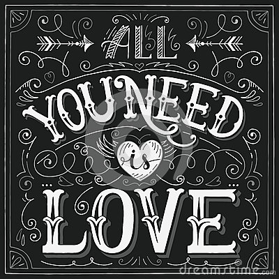 Free  All You Need Is Love  Hand-lettering For Print, Card Royalty Free Stock Images - 50453279