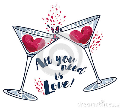 Free `All You Need Is Love` Poster With Two Martini Glasses And Hearts Royalty Free Stock Image - 93484776