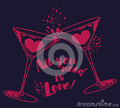 Free `All You Need Is Love` Poster With Two Martini Glasses And Hearts Stock Photography - 94743342