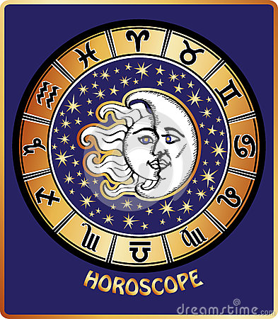 All zodiac sign in Horoscope circle.Sun and Moon