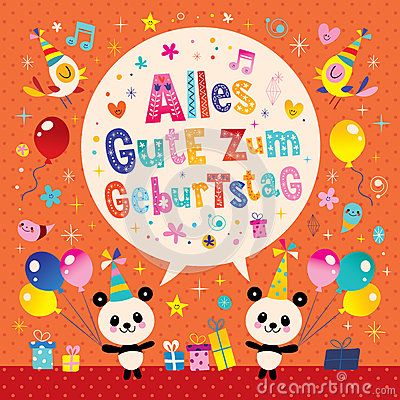 Alles Gute Zum Geburtstag Deutsch German Happy Birthday Greeting Card Cartoon Vector