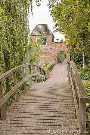 Alley with bridge leading to town wall