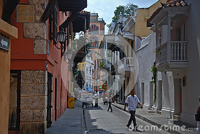 Alley in Cartagena, Colombia Editorial Stock Photo