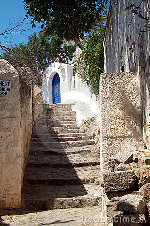 Alley in a mediterranean village Stock Photo