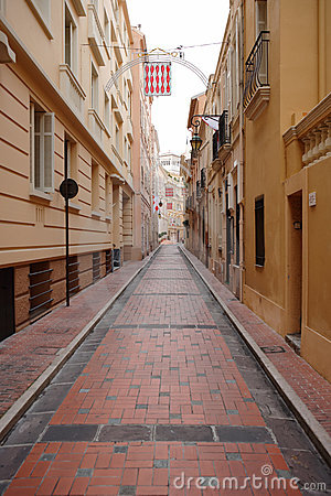 Alley with red cobblestone