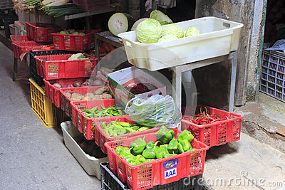 Alley vegetable stalls Editorial Stock Photo