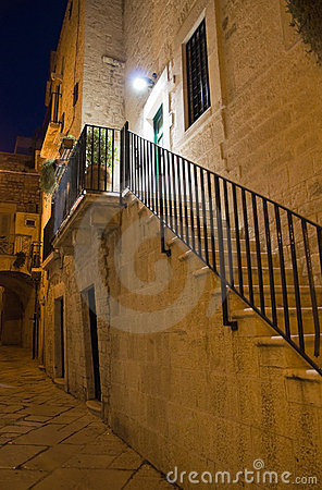 Alleyway by night. Giovinazzo. Apulia.