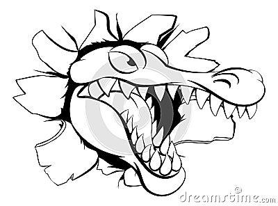 Alligator or crocodile breaking through background Vector Illustration
