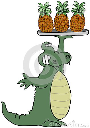 Alligator Holding Pineapples