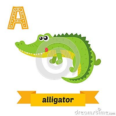 Alligator. A letter. Cute children animal alphabet in vector. Fu Vector Illustration