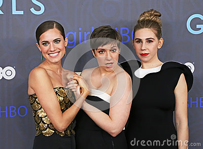 Allison Williams, Lena Dunham, and Zosia Mamet Editorial Photo