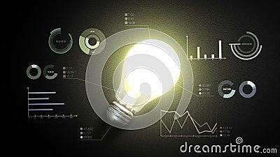 Allumez la lumière d'ampoule, et les divers diagrammes et graphiques économiques, concept d'idée