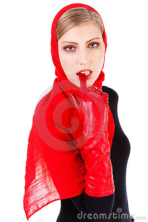 Alluring beautiful girl in red scarf