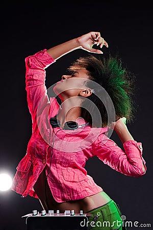 Alluring deejay dancing