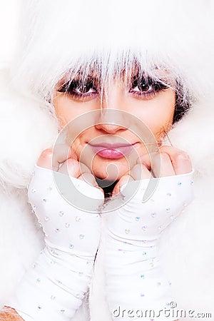 Alluring model in white fur