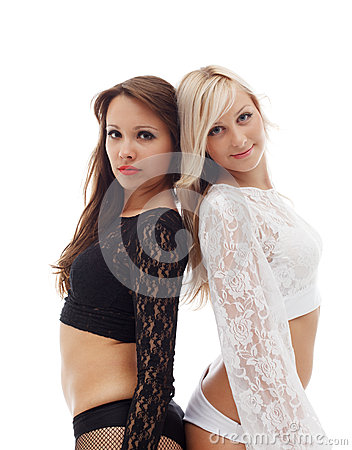 Alluring sexy dancers posing in lace outfits