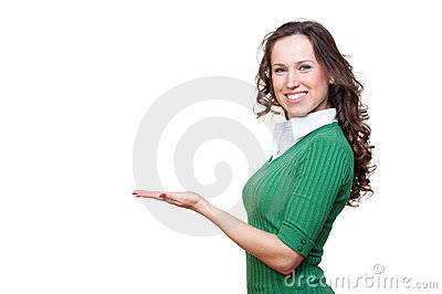 Alluring smiley woman holding something