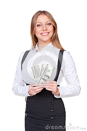 Alluring woman holding american dollars