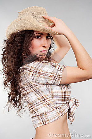 Free Alluring Woman In Cowboy Hat Stock Photography - 12749722