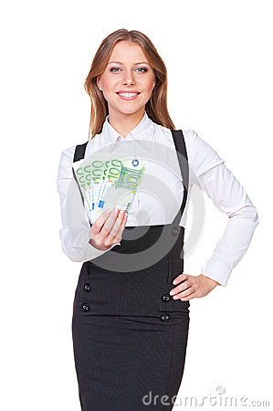 Alluring woman showing paper money