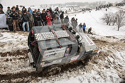 Almaty, Kazakhstan - February 21, 2013. Off-road racing on jeeps, Car competition,  ATV. Editorial Stock Photo