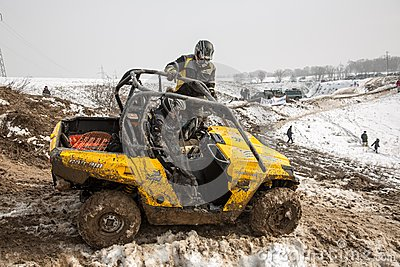 Almaty, Kazakhstan - February 21, 2013. Off-road racing on jeeps, Car competition,  ATV. Editorial Image