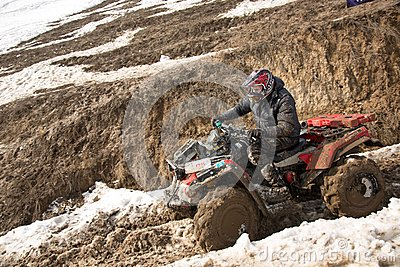 Almaty, Kazakhstan - February 21, 2013. Off-road racing on jeeps, Car competition,  ATV. Traditional race Editorial Photography