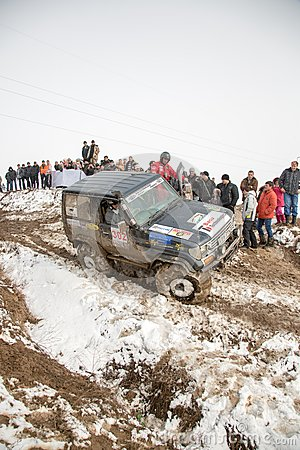 Almaty, Kazakhstan - February 21, 2013. Off-road racing on jeeps, Car competition,  ATV. Traditional race Editorial Stock Photo