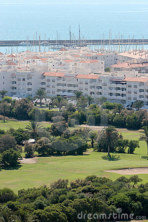 Almerimar golf course and port in Spain