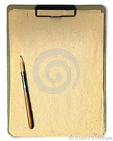 Almofada e lápis de nota