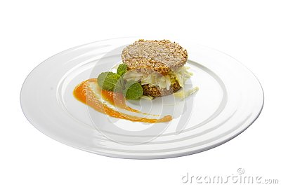 Almond cookies with an apple Stock Photo