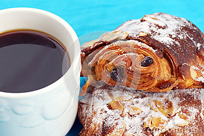 Almond croissants and coffee