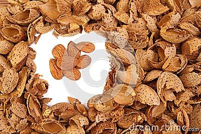 Almond kernels among  hulls