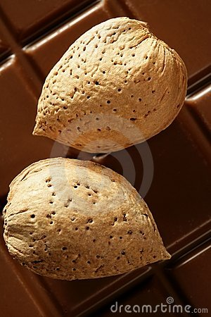 Free Almond Nuts Over Chocolate, Delicious Golden Food Stock Image - 7549711