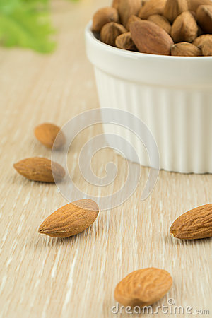 Almonds and bowl of almonds