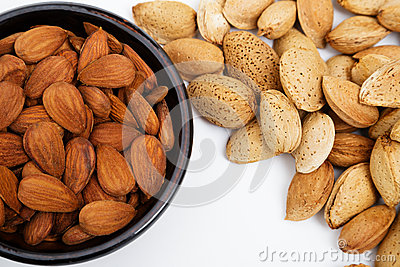 Almonds in a bowl, snacks of nuts