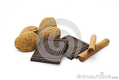 Almonds, chocolate and cinnamon