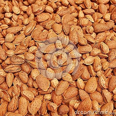Almonds closeup, tasty background
