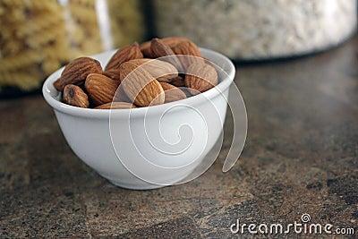 Almonds in dish