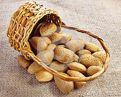 Almonds falling from basket
