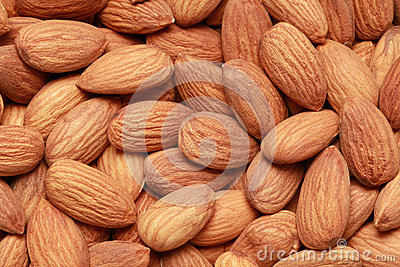 Almonds form a background