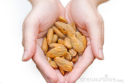 Almonds in hands