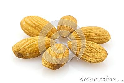 Almonds, isolated macro