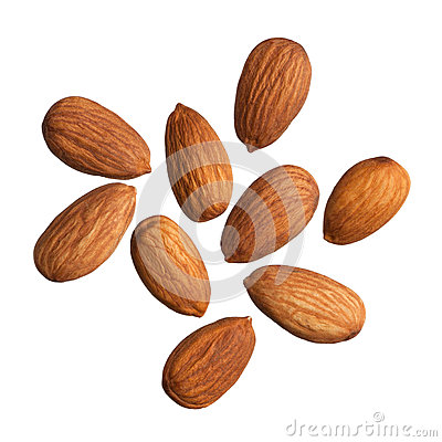 Free Almonds Isolated On White Background Stock Image - 28465841