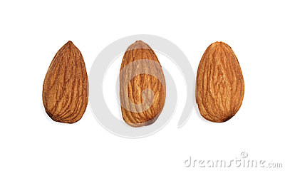 Almonds isolated on white background