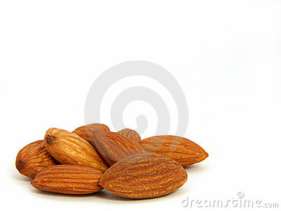 Almonds on left